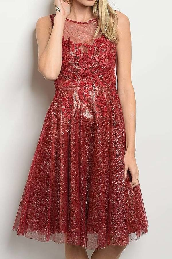 METALLIC TULLE LACE MIDI DRESS  - orangeshine.com