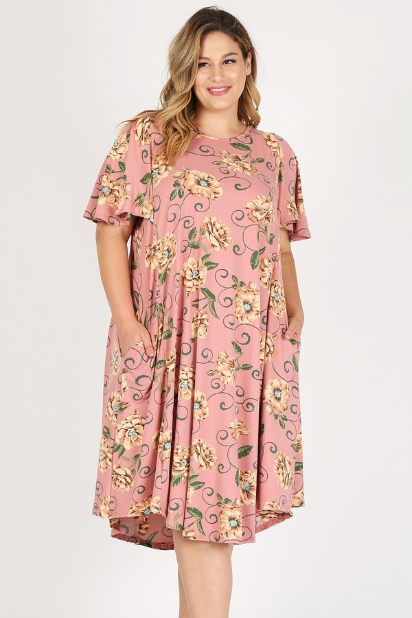PLUS SIZE FLORAL PRINT DRESS - orangeshine.com