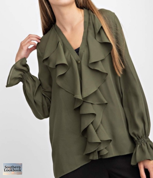 SOLID RUFFLE DETAIL BLOUSE - orangeshine.com