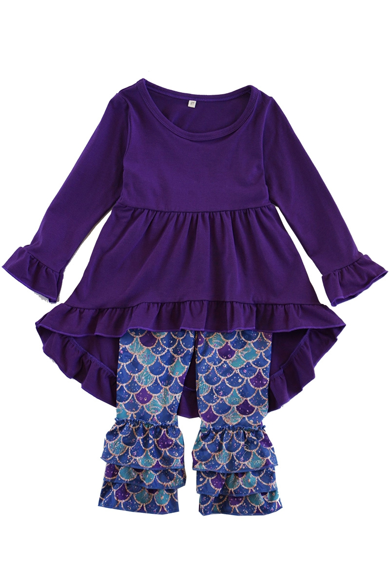 Purple high low tunic mermaid scale - orangeshine.com