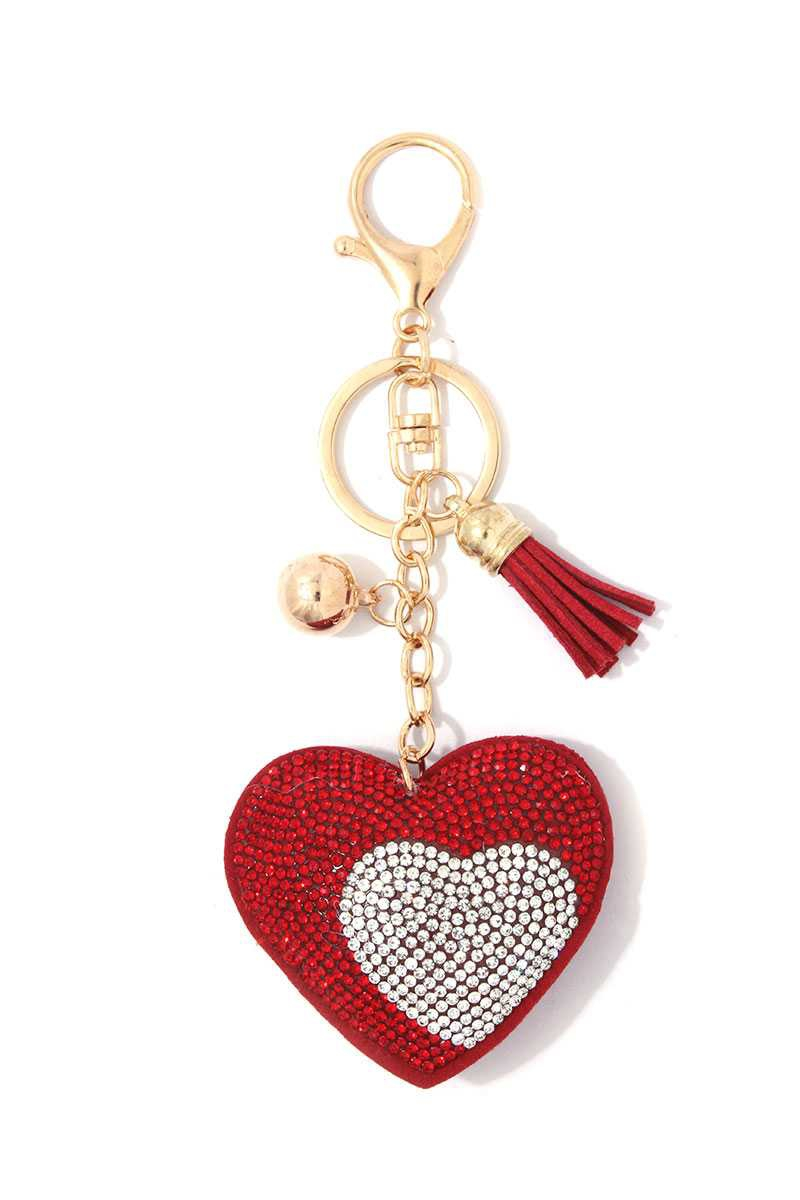 DOUBLE HEART PUFFY BLING KEYCHAIN - orangeshine.com