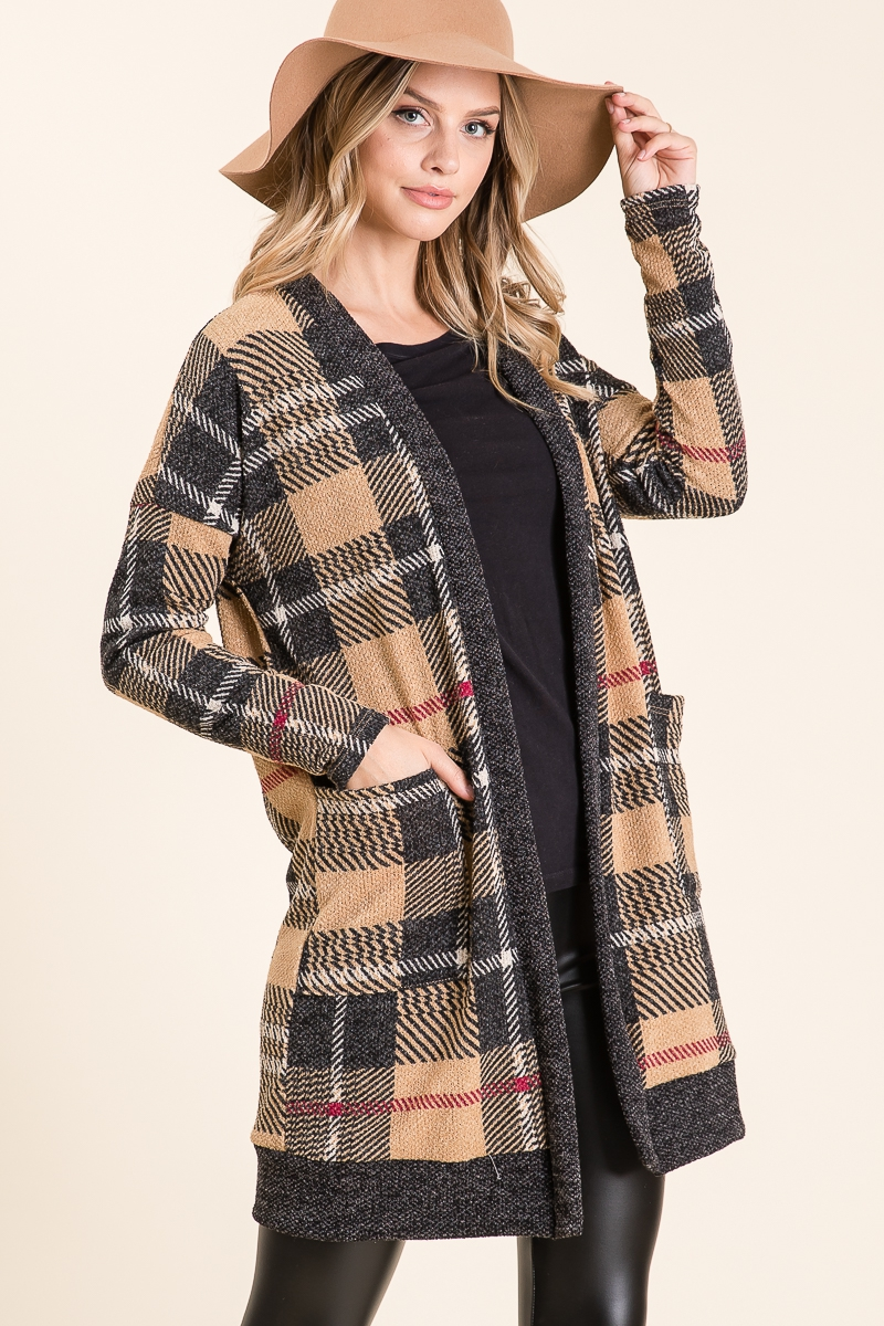 PLAID OPEN CARDIGANS WITH POCKETS - orangeshine.com