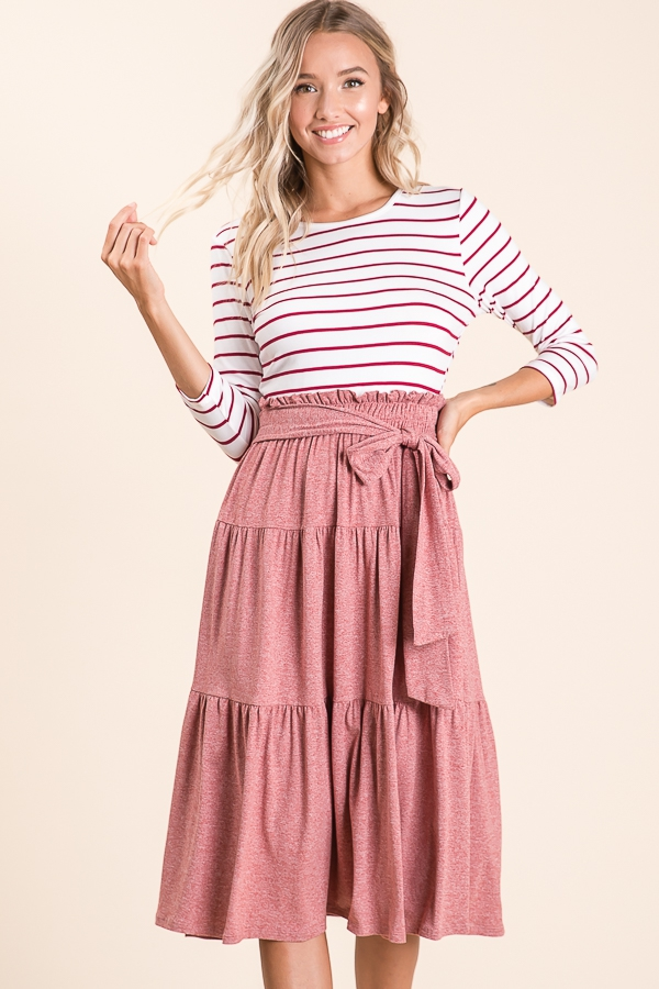 Striped Contrast Midi Dress - orangeshine.com