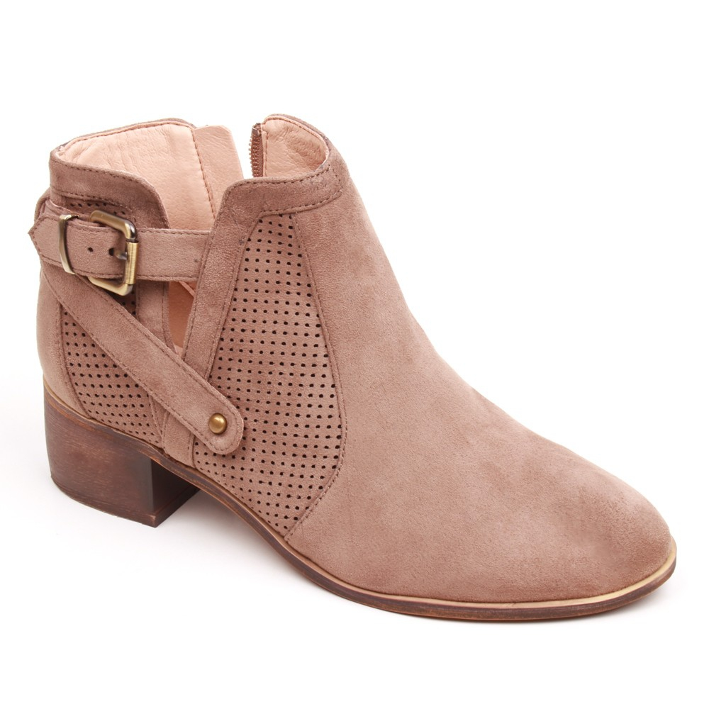 WOMEN PERFORATED BUCKLED ANKLE BOOTI - orangeshine.com