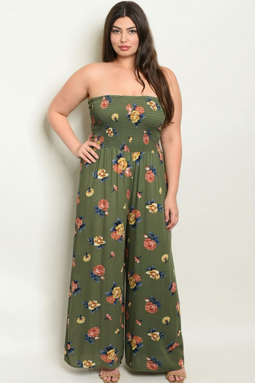 SMOCKING DETAIL FLORAL TUBE JUMPSUIT - orangeshine.com