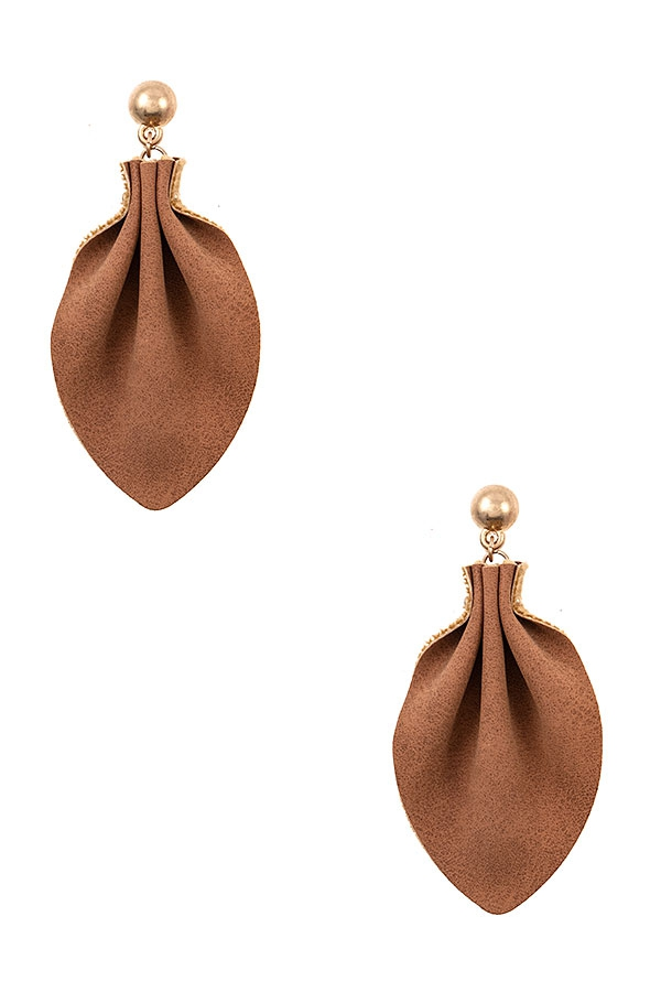 FAUX LEATHER DROP EARRING - orangeshine.com