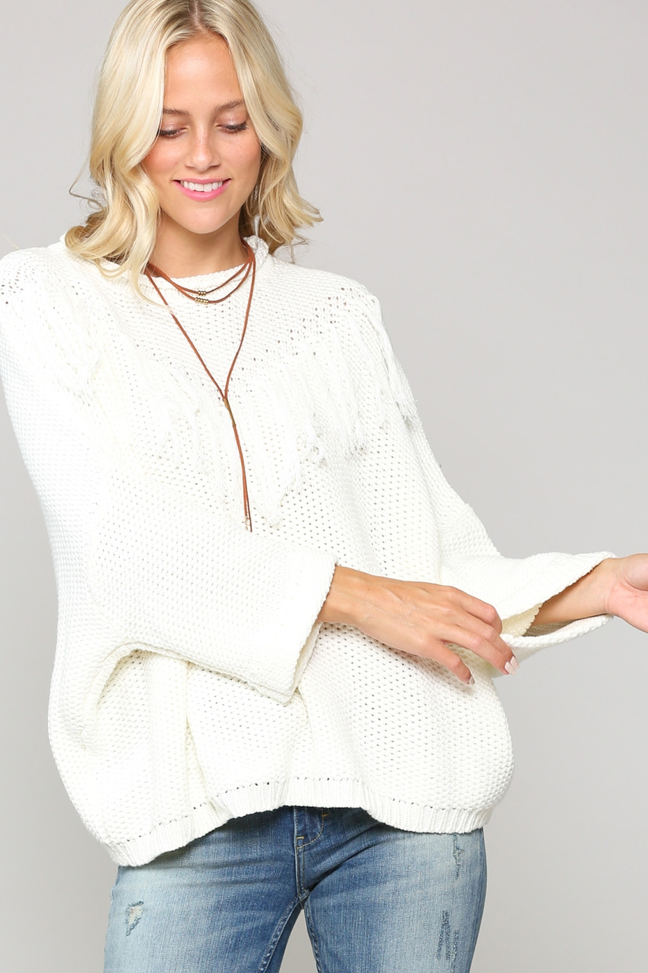 OVERSIZED ROUND NECK PULLOVER SWEATE - orangeshine.com
