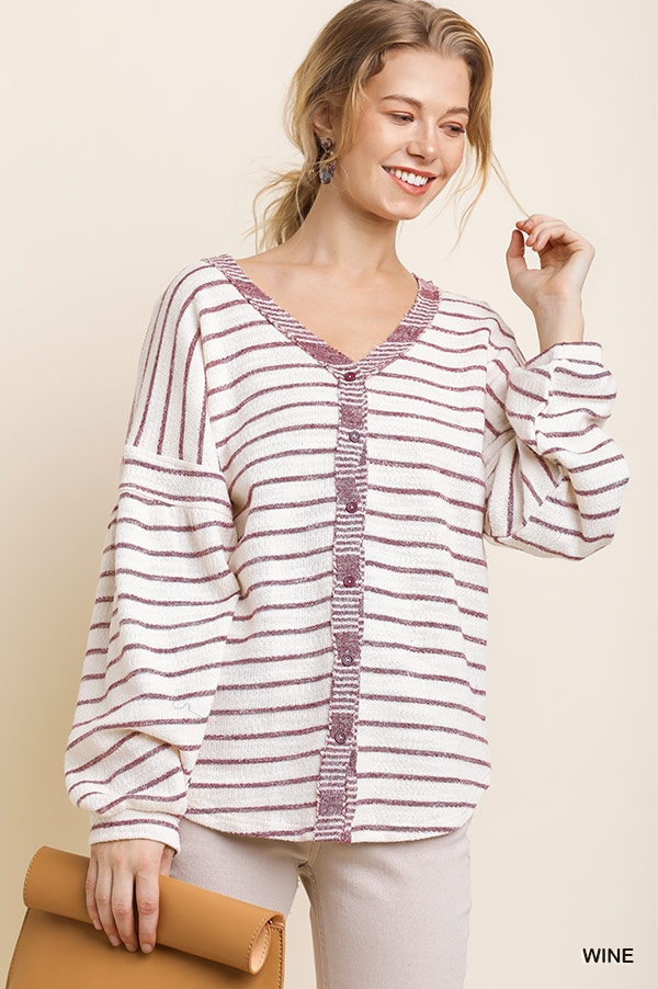 Striped Button Front Sweater Top - orangeshine.com
