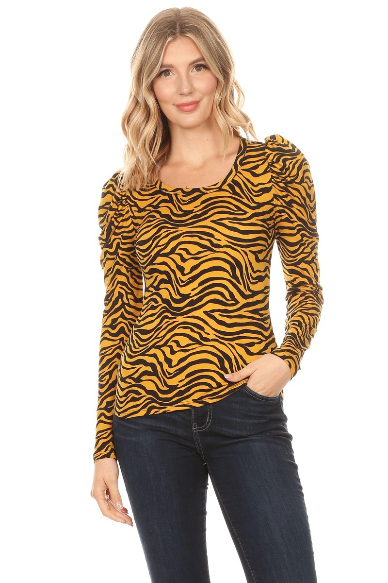 Zebra Print Puff Sleeves Top - orangeshine.com