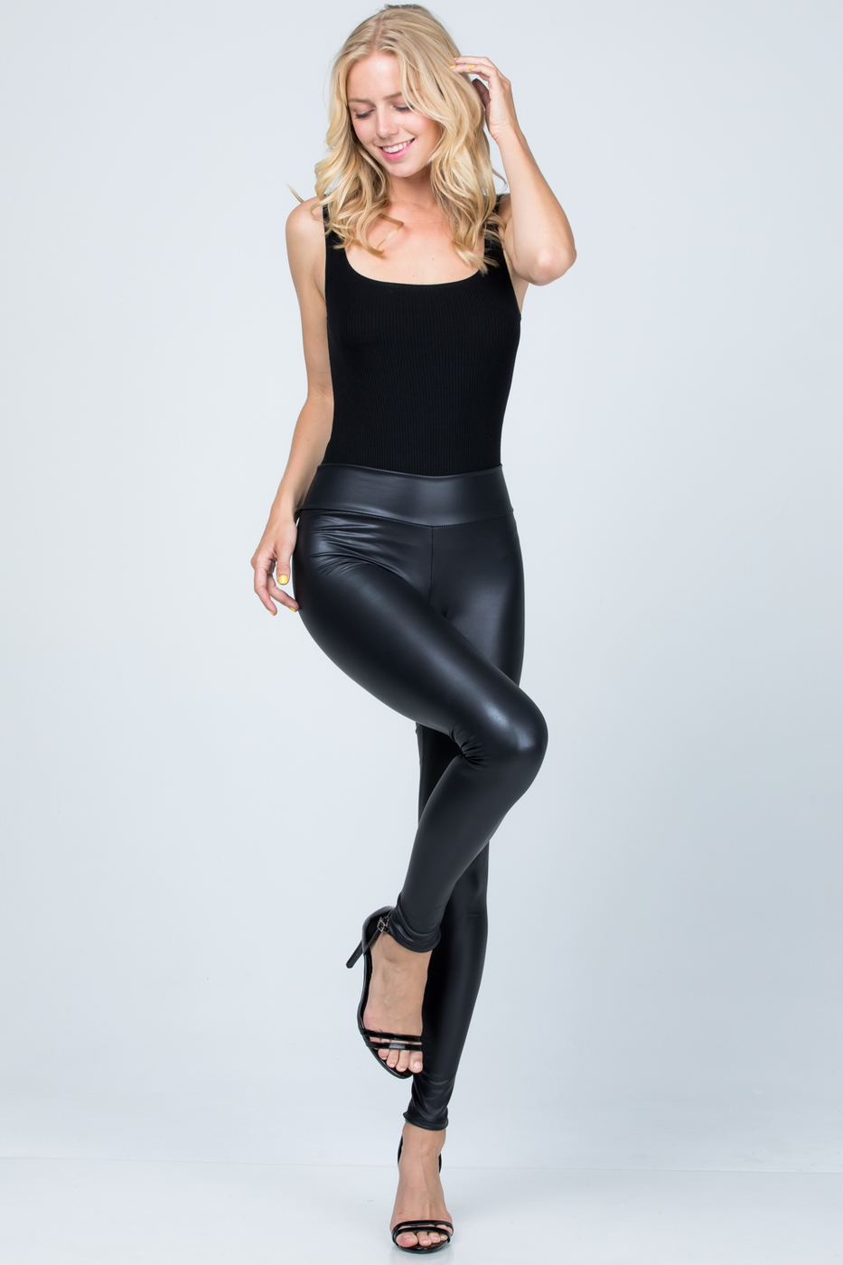High-waist full-length faux leather  - orangeshine.com