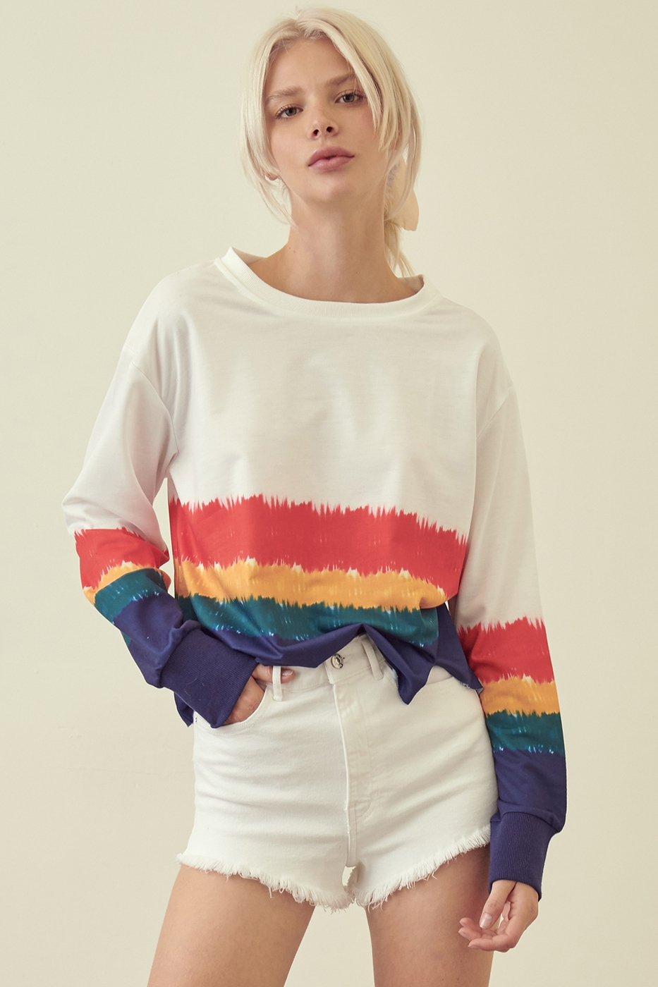 MULTI STRIPE LONG SLEEVE CROP TOP - orangeshine.com