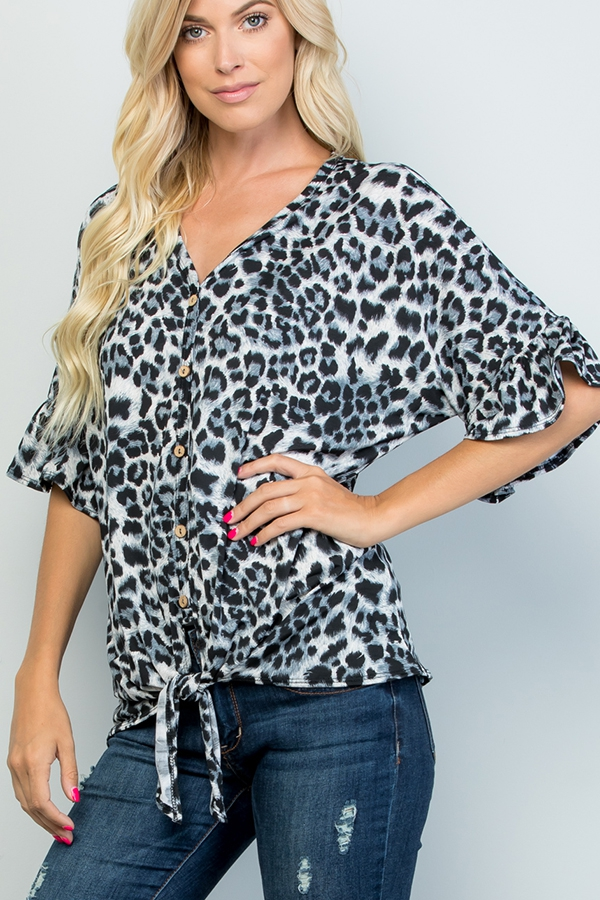 ANIMAL PRINT TOP WITH BUTTON - orangeshine.com