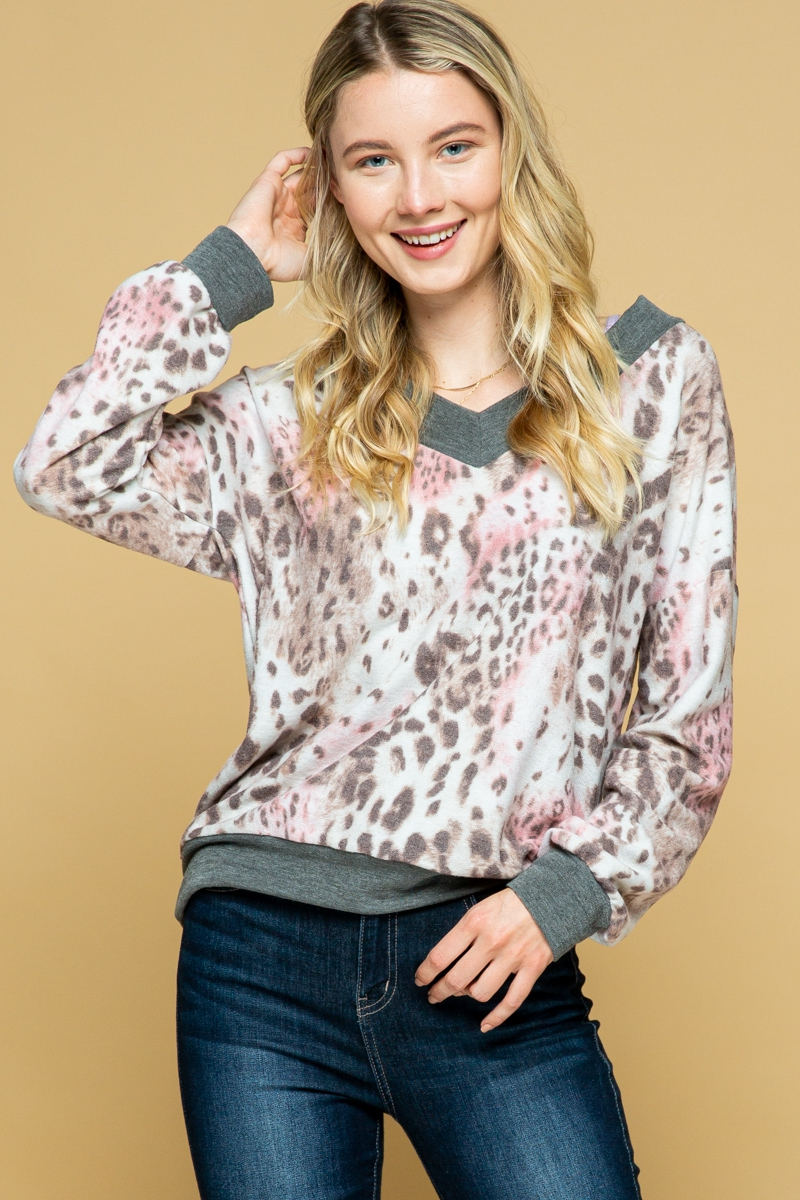 V-NECK CHEETAH PRINT TOP - orangeshine.com