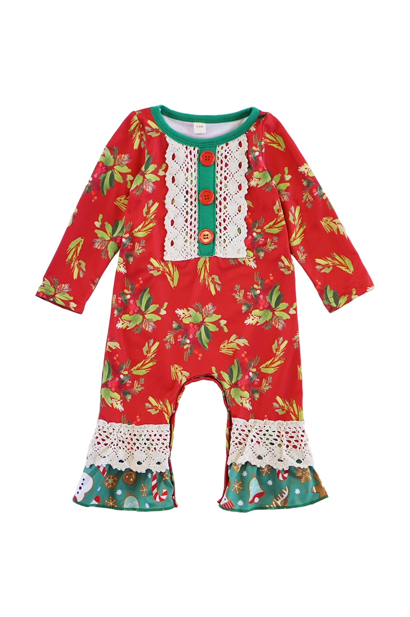 Red green merry lace baby romper - orangeshine.com