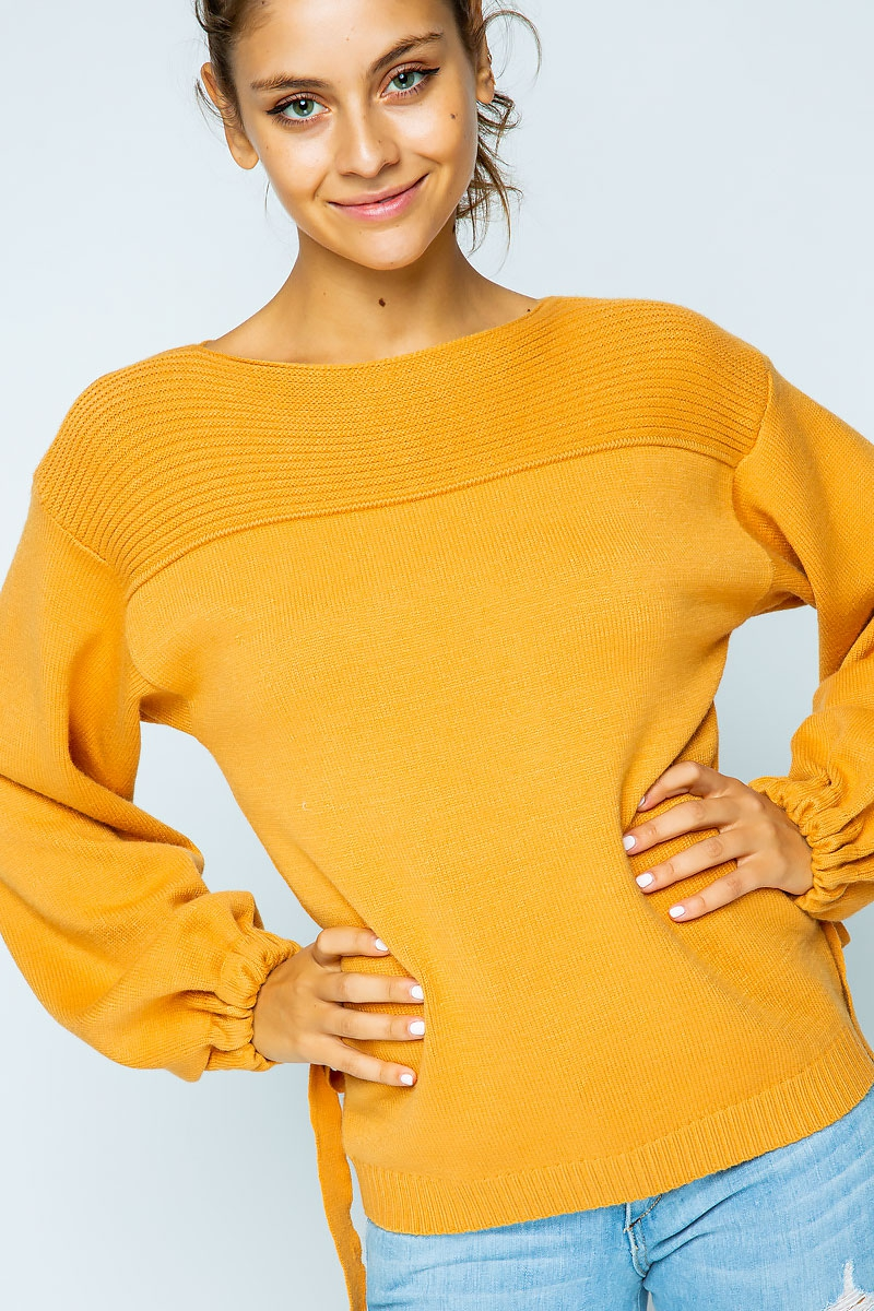 CINCH TIE WIDE SLEEVES SWEATER - orangeshine.com