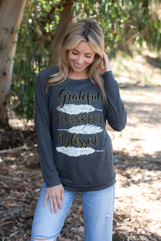 GRATEFUL THANKFUL BLESSED SWEATSHIRT - orangeshine.com