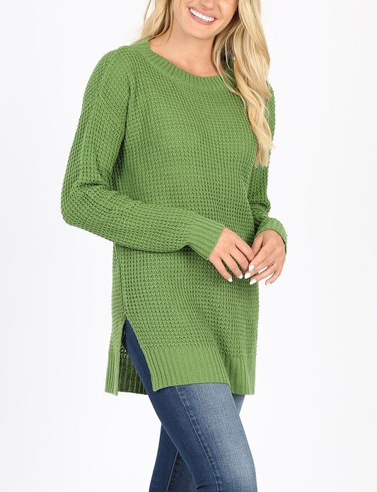 ROUND NECK WAFFLE SWEATER SIDE SLIT - orangeshine.com