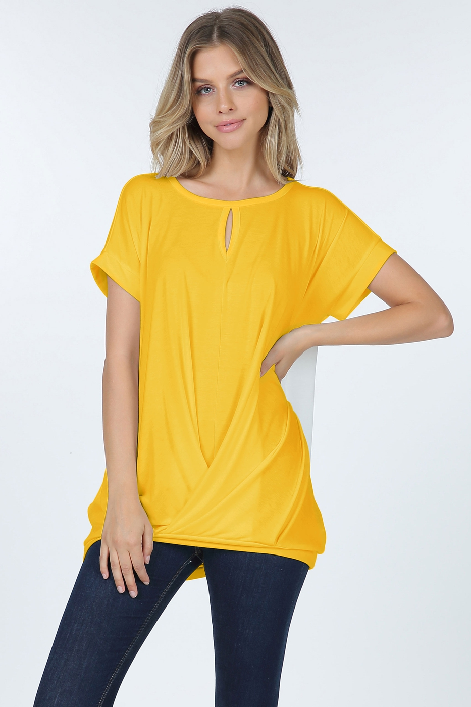 Short Sleeve Cross Over Tunic Top Wi - orangeshine.com
