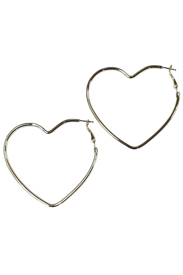 Brass heart shape hoop earrings - orangeshine.com
