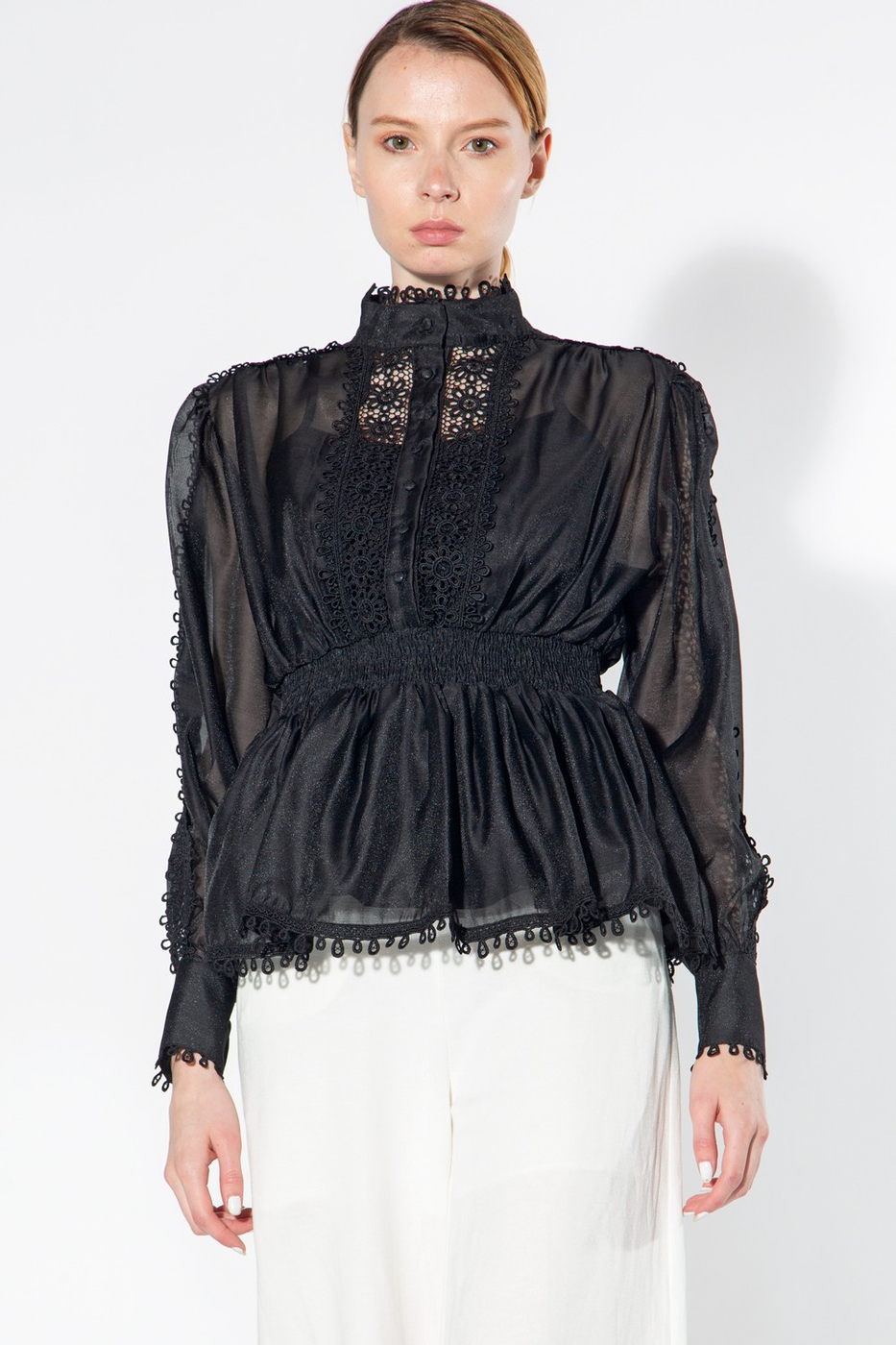 Long Sleeve Blouse with Lace Trim - orangeshine.com