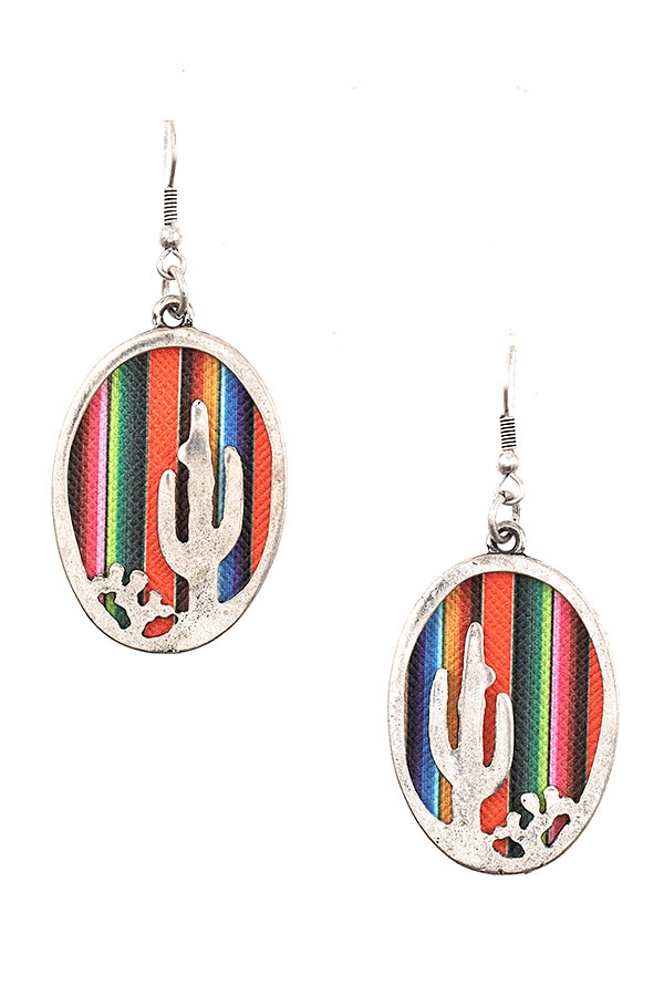 CACTUS OVAL FRAMED EARRING - orangeshine.com