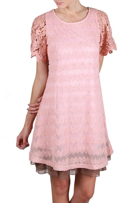 AD3856 LACE CROCHET SLEEVES BACK TIE - orangeshine.com