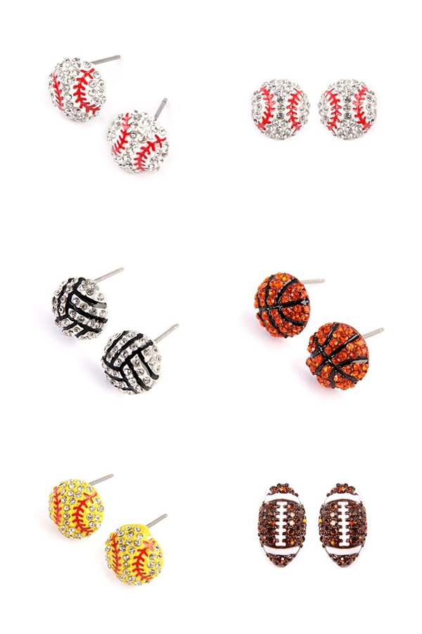 Cubic SPORTS Zirconia STUD EARRINGS - orangeshine.com