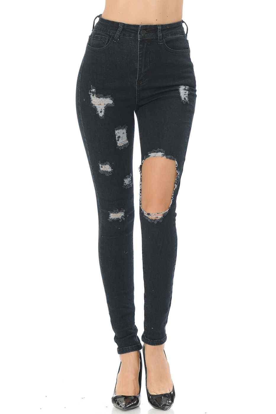 Cut out fashion denim jeans  - orangeshine.com