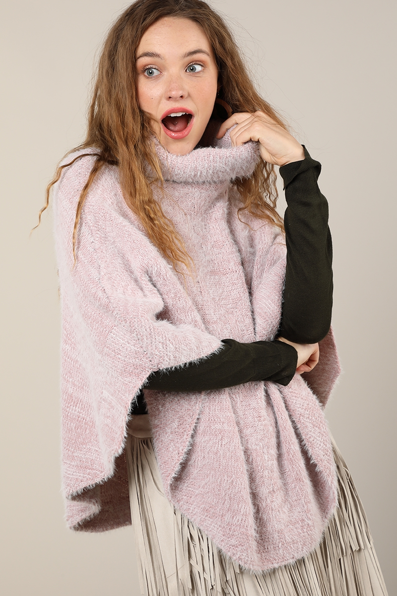 Eyelash Knit Poncho  - orangeshine.com