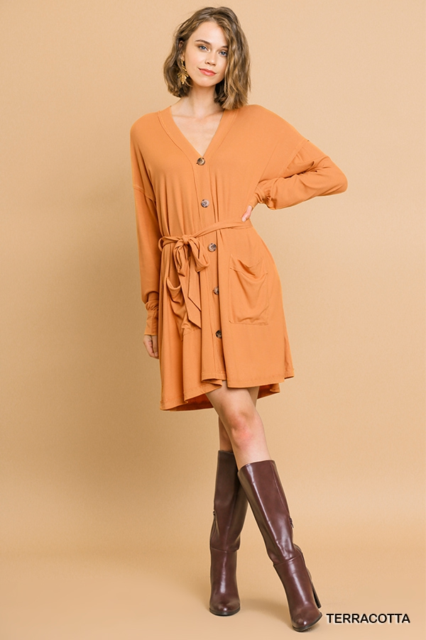 Ribbed Button Front Cardigan Dress - orangeshine.com