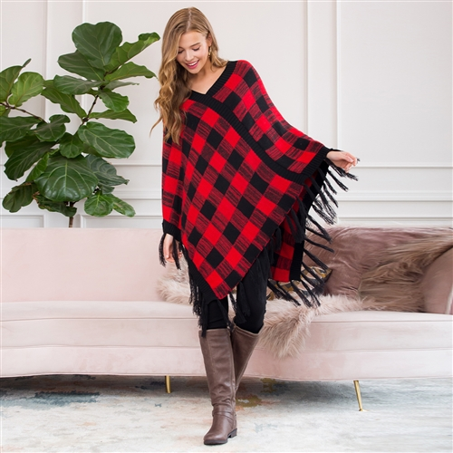 PLAID FRINGE PONCHO - orangeshine.com