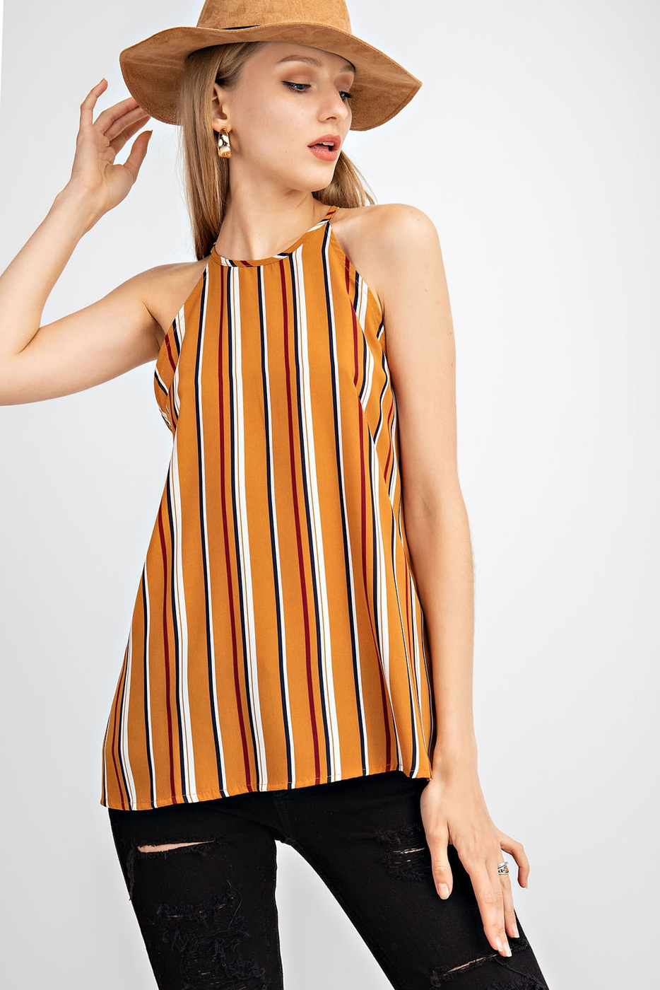 VERTICAL STRIPE WOVEN SLEEVELESS TOP - orangeshine.com