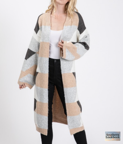 COLOR BLOCK TIE WAIST LONG CARDIGAN - orangeshine.com