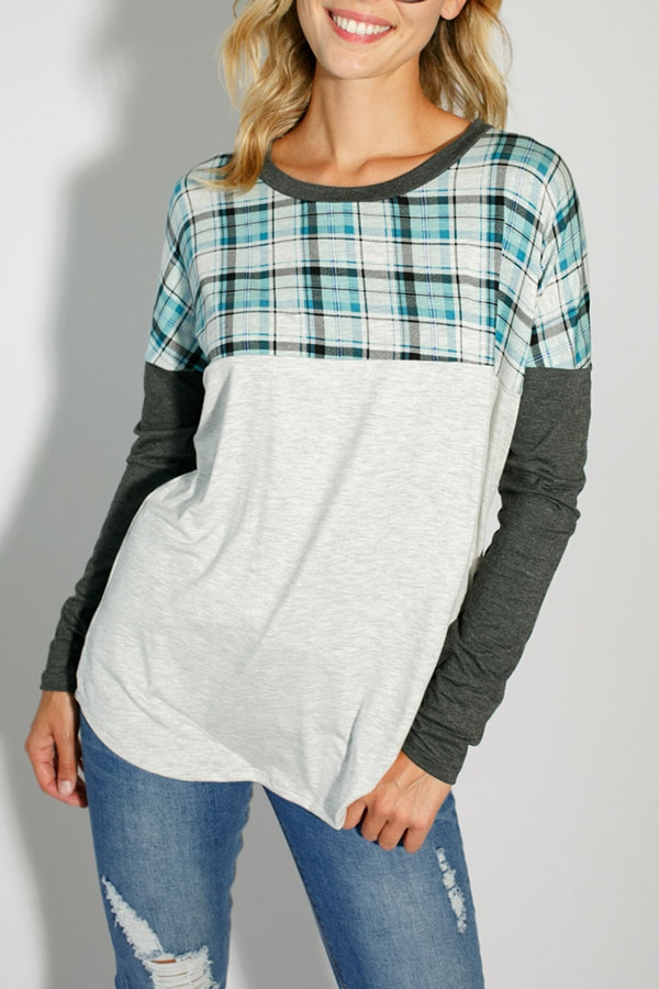 SOLID AND PLAID MIXED TOP - orangeshine.com