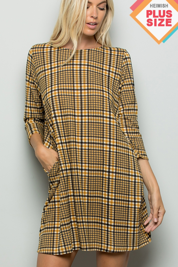 PLUS PLAID PRINT DRESS - orangeshine.com
