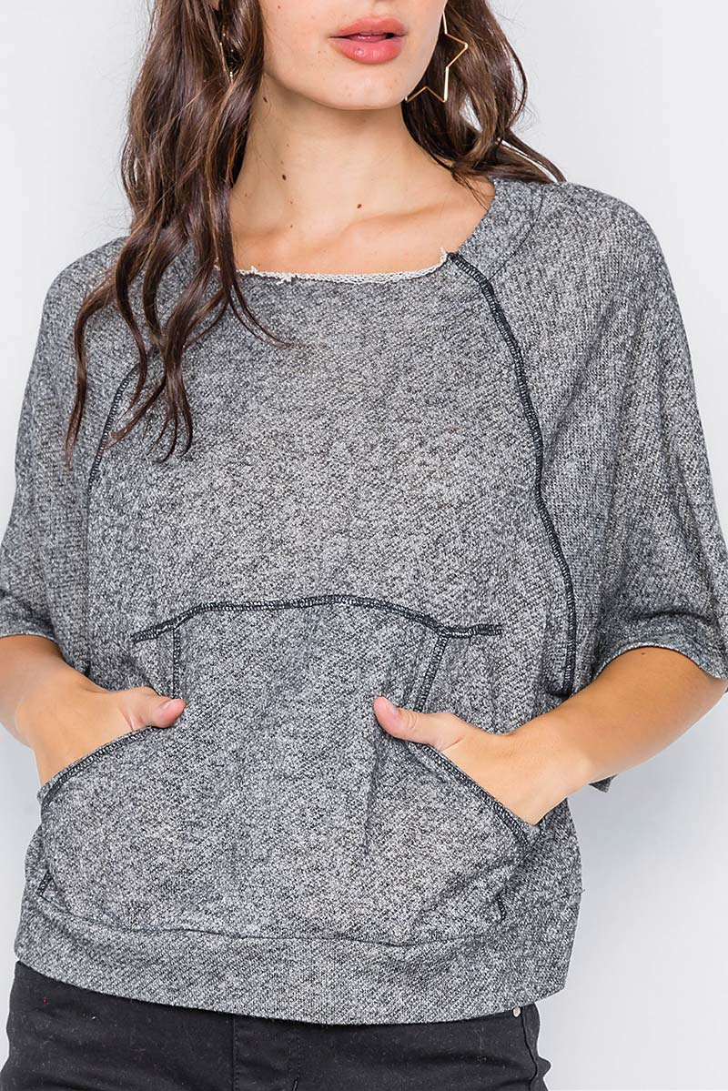 RAW HEM NECKLINE RELAXED FIT SWEATER - orangeshine.com