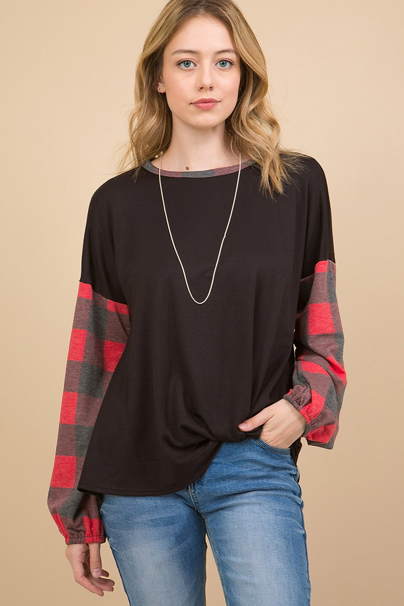 PLAID PRINT TOP  - orangeshine.com