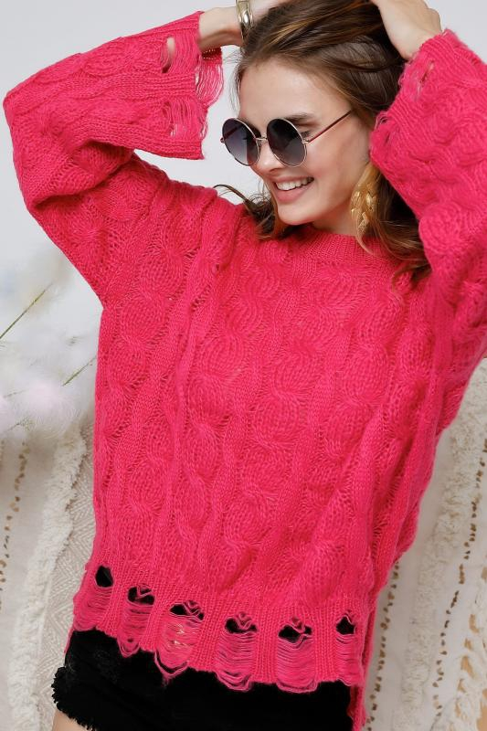 Solid round neck long sleeve sweater - orangeshine.com