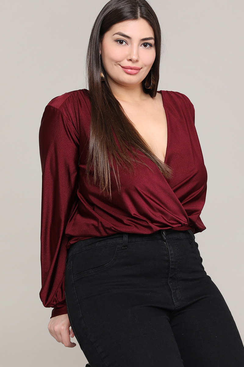 PLUS SIZE  SURPLICE WRAP BODYSUIT - orangeshine.com