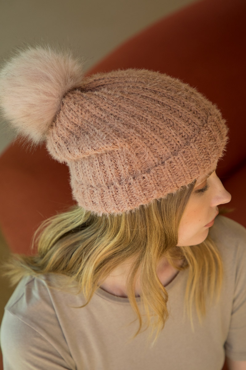 Fuzzy Ribbed Beanie with Pompom - orangeshine.com