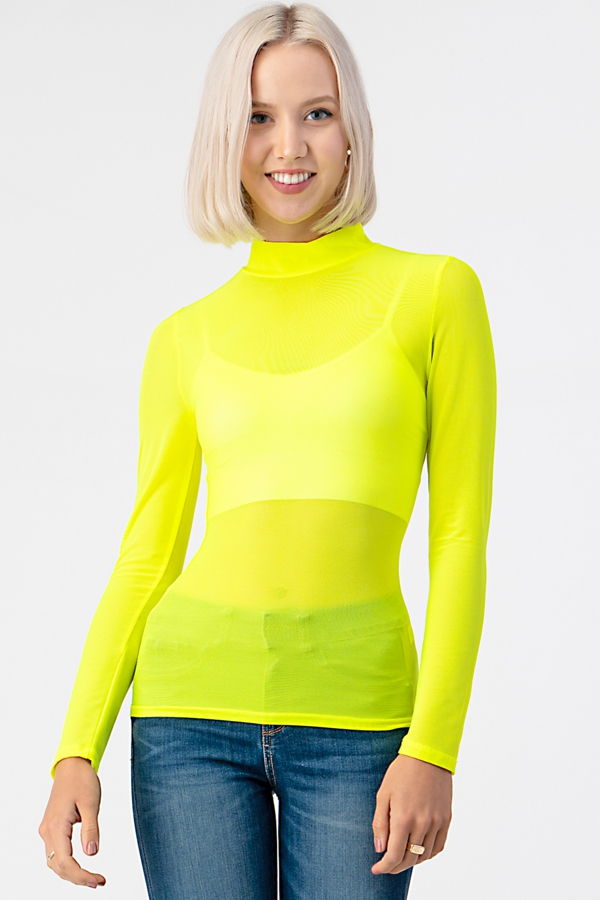 MESH MOCK NECK LONG SLEEVE TOP - orangeshine.com