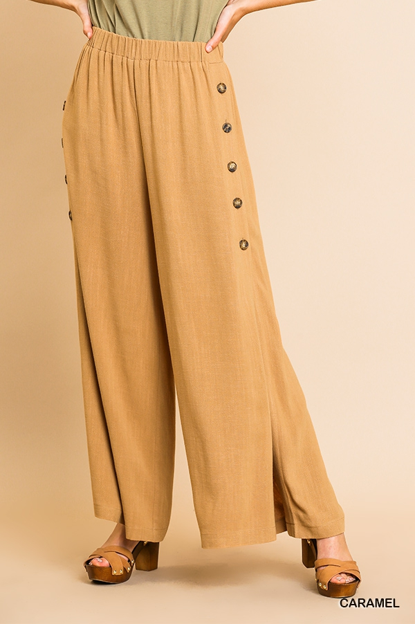 Linen Blend High Waist Wide Leg Pant - orangeshine.com