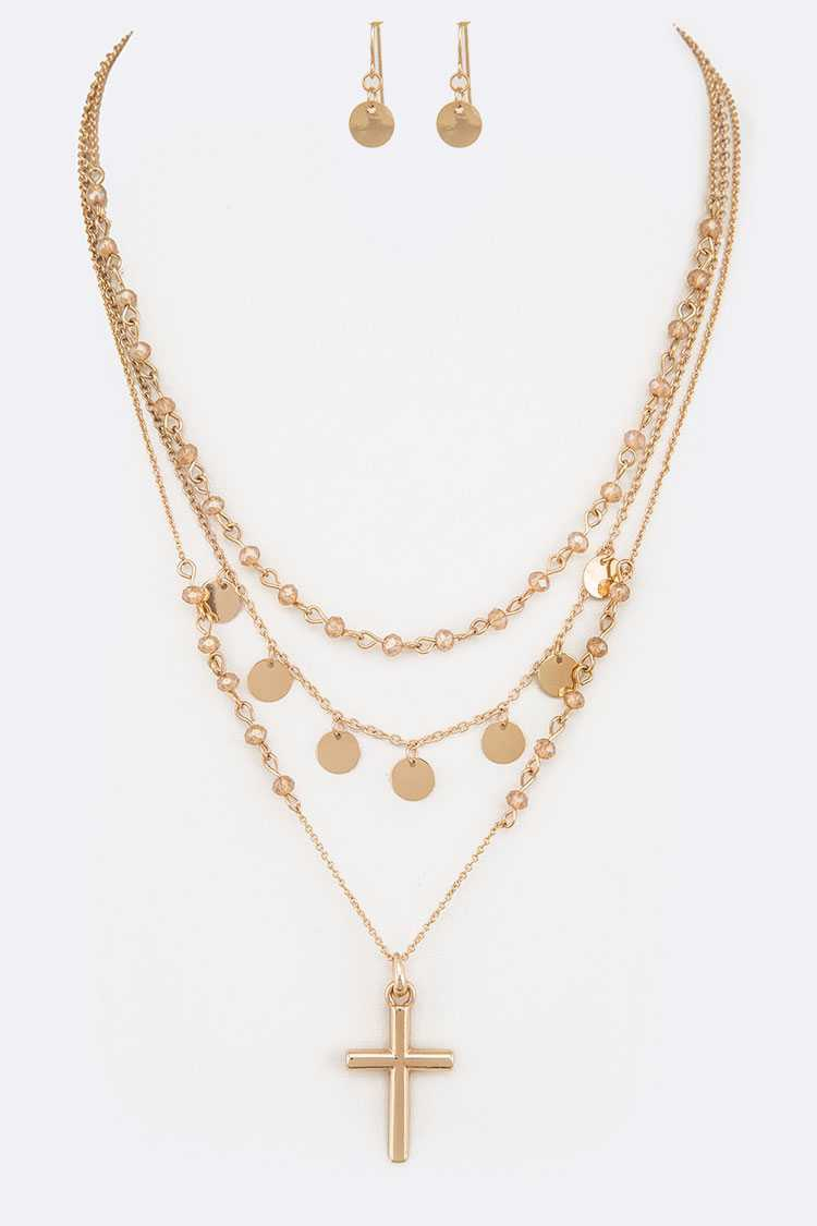 Cross Pendant Layer Necklace Set - orangeshine.com