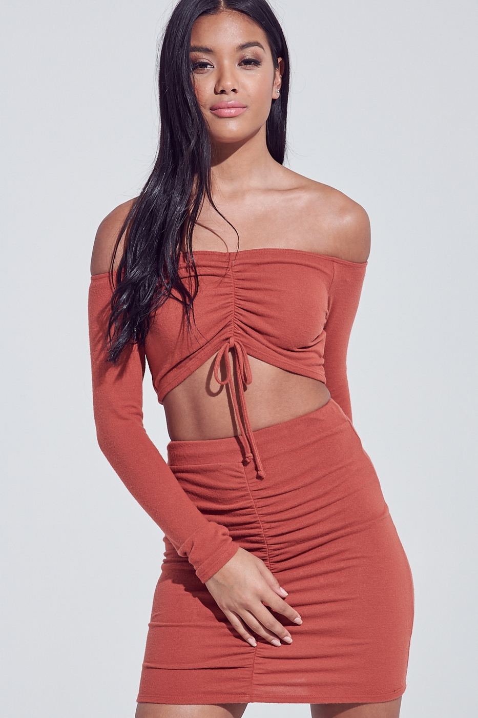 RUCHED OFF THE SHOULDER SET  - orangeshine.com