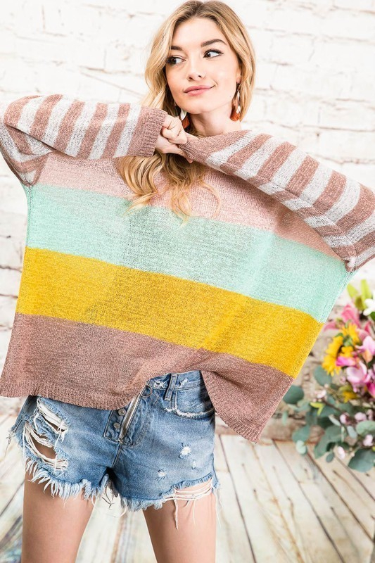 VIVID BOLD STRIPE COLORBLOCK SWEATER - orangeshine.com