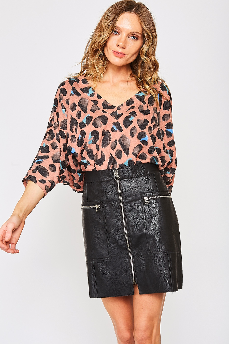 BRUSHED ANIMAL PRINT TOP - orangeshine.com