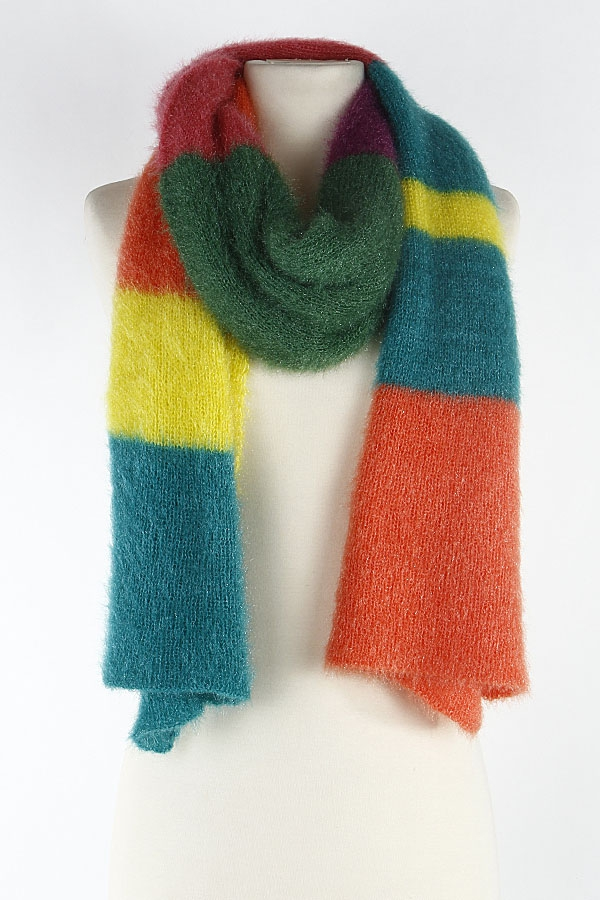 Fuzzy color block scarf - orangeshine.com