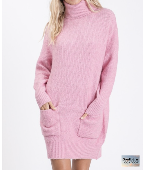 SOLID POCKET DETAIL SWEATER DRESS - orangeshine.com