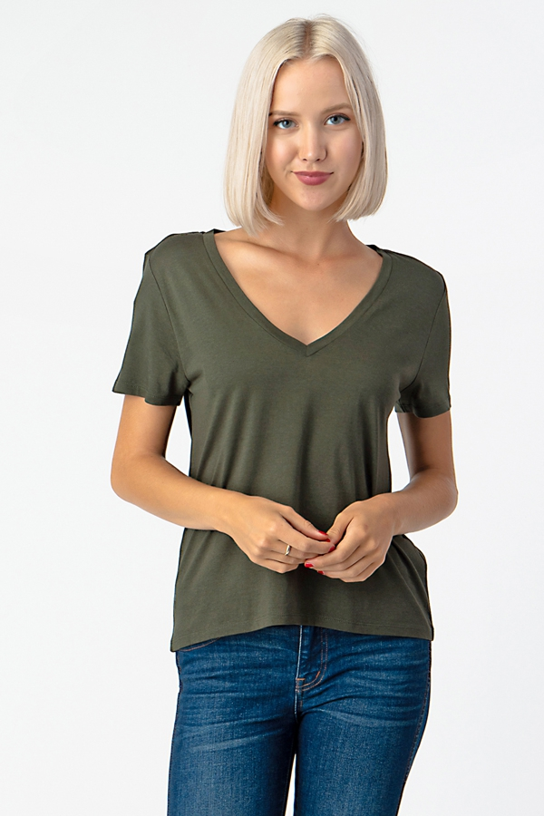 V-NECK SOFT SHORT SLEEVE TOP - orangeshine.com