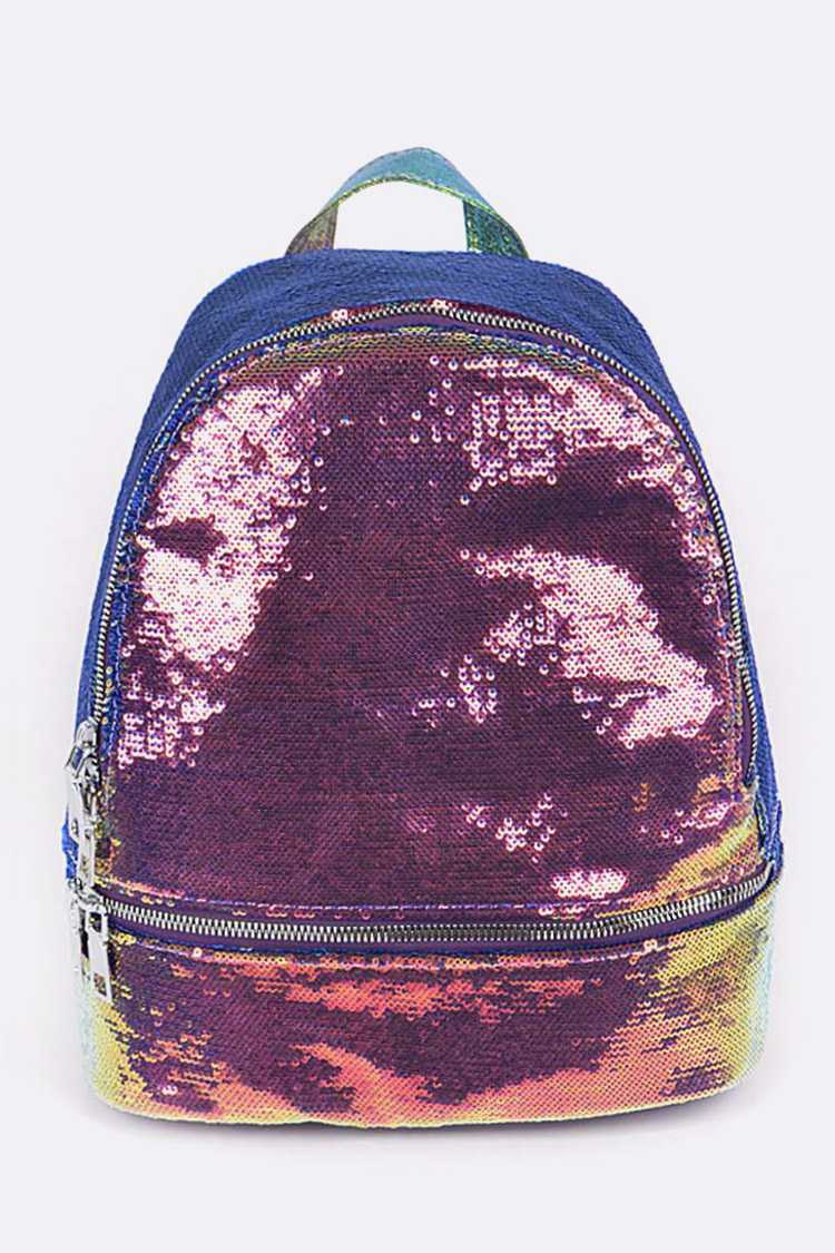 Mix Color Sequins Fashion Backpack - orangeshine.com
